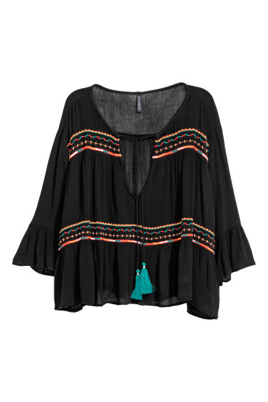 Embroidered blouse - Black -  | H&M