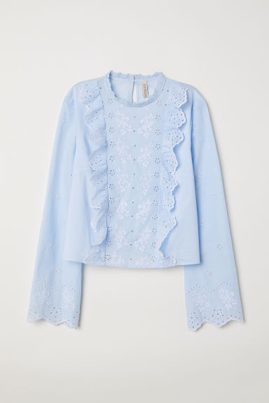 Embroidered cotton blouse - Light blue - Ladies | H&M CN