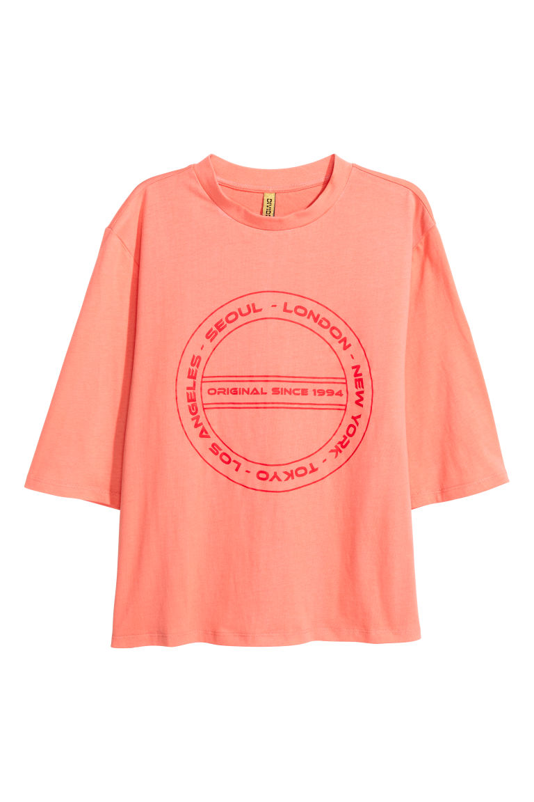 Wide printed T-shirt - Coral - Ladies | H&M