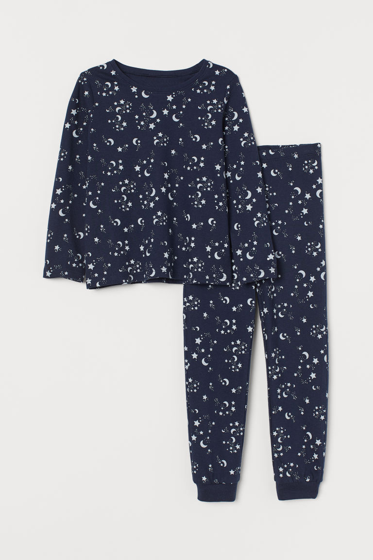 Jersey pyjamas - Dark blue/Glow-in-the-dark - Kids | H&M IE