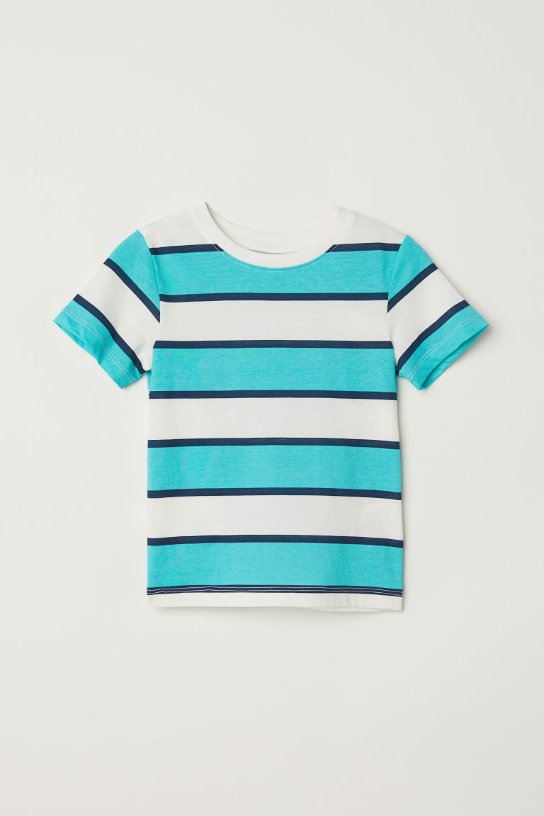 Printed T-shirt - Turquoise/White striped -  | H&M CN