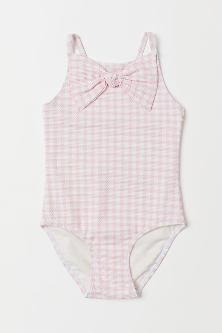 Swimsuit with a bow - Light pink/White checked - Kids | H&M