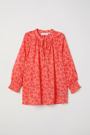 V-neck modal blouse - Red/Floral - Ladies | H&M