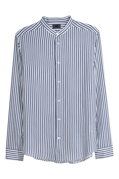 Grandad Shirt Slim fit - White/Dark blue striped - Men | H&M