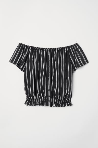 Short jersey top - Black/White striped - Ladies | H&M