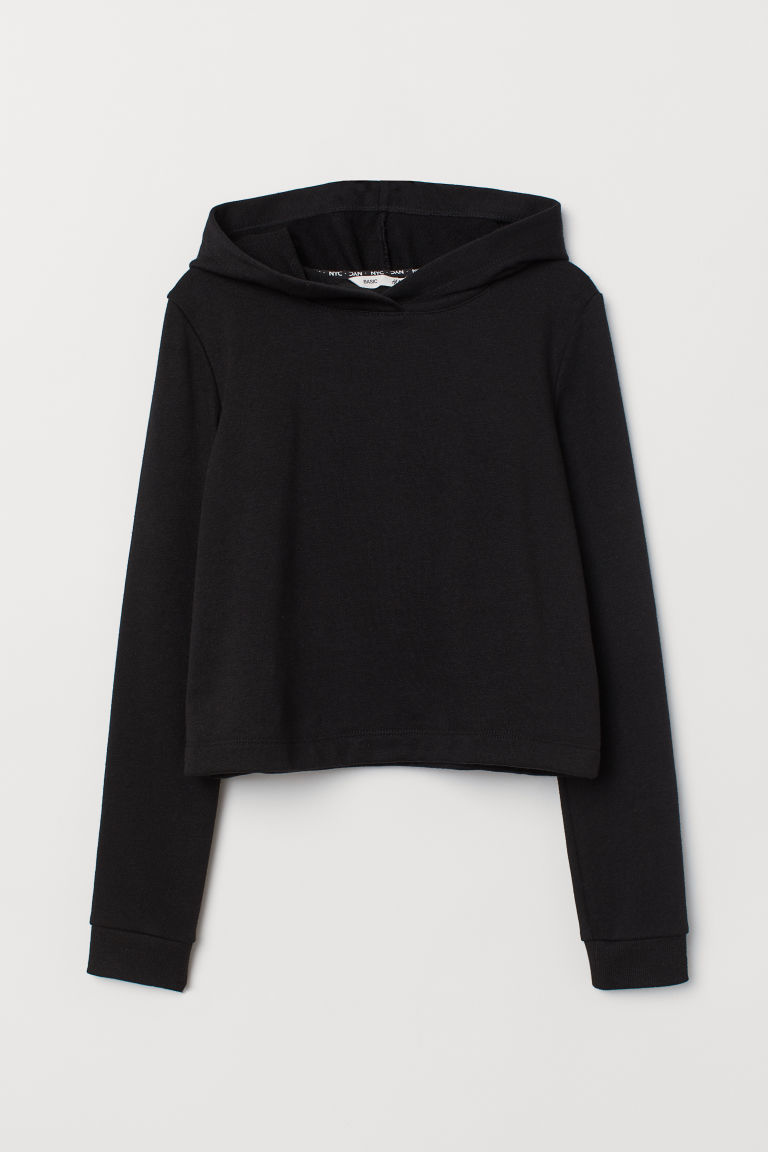 Short hooded top - Black - Kids | H&M