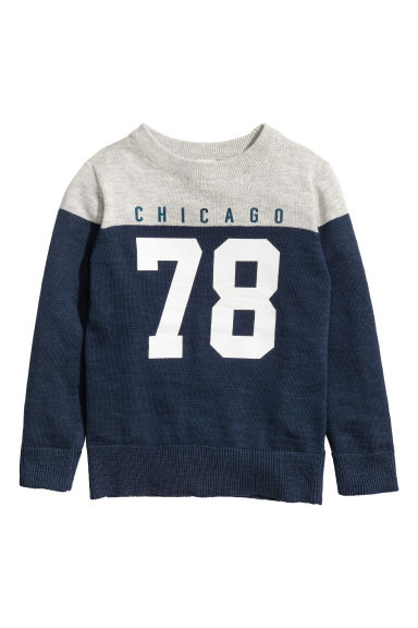 Fine-knit printed jumper - Dark blue -  | H&M GB