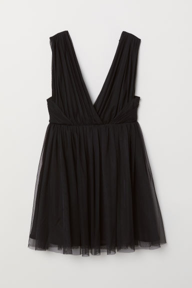 V-neck tulle dress - Black - Ladies | H&M