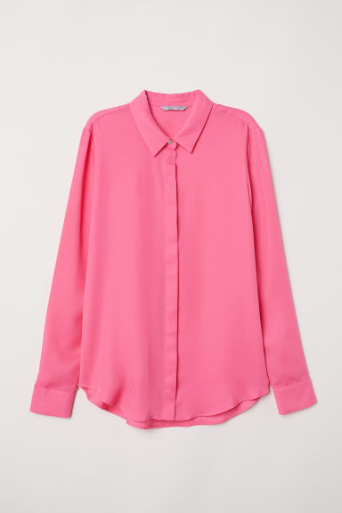 Long-sleeved blouse - Pink -  | H&M CN