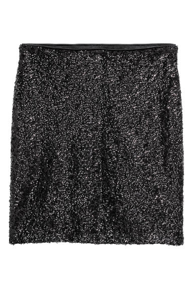 Glittery skirt - Black/Sequins -  | H&M CN