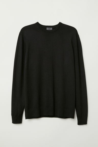 Merino wool jumper - Black - Men | H&M