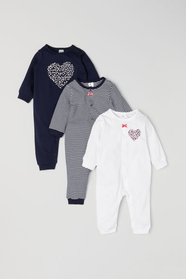3-pack cotton pyjamas - Dark blue/Striped - Kids | H&M