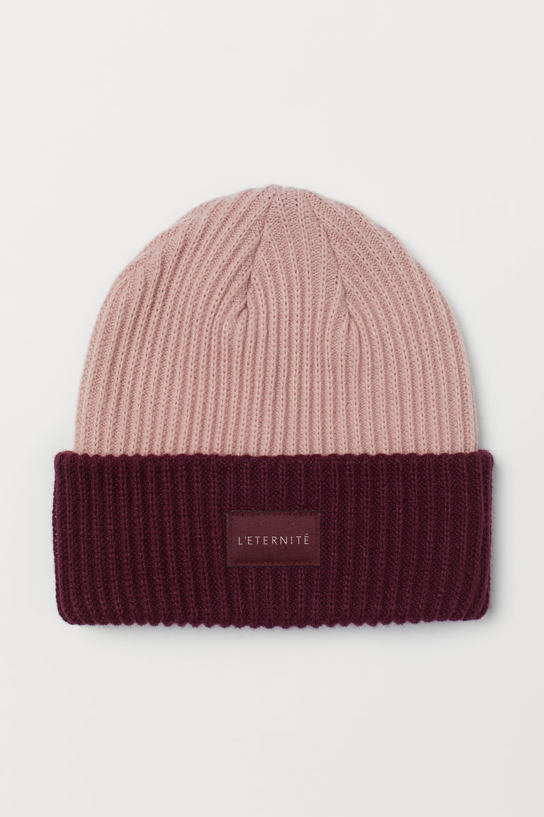 Ribbed hat - Dusky pink/Burgundy -  | H&M