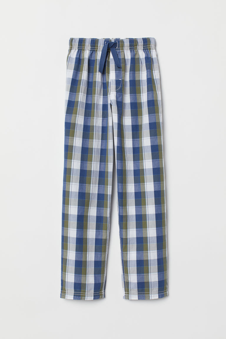 Cotton pyjama bottoms - Khaki green/Blue checked - Kids | H&M CN