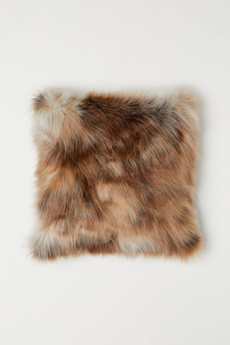 Faux fur cushion cover - Beige - Home All | H&M CN