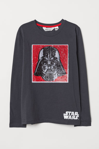 Top with a motif - Dark grey/Star Wars - Kids | H&M CN