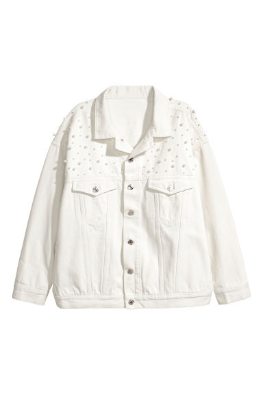 Oversized denim jacket - White - Ladies | H&M