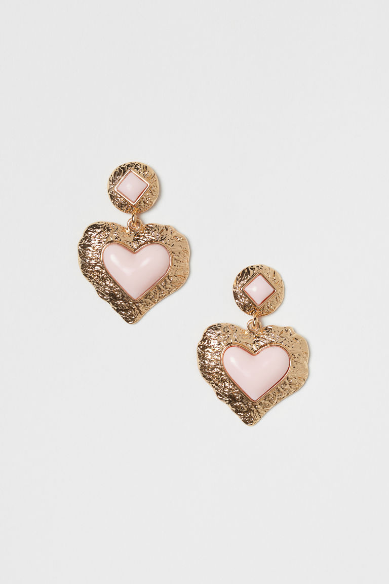 Heart-shaped Earrings - Gold-colored/light pink - Ladies | H&M CA