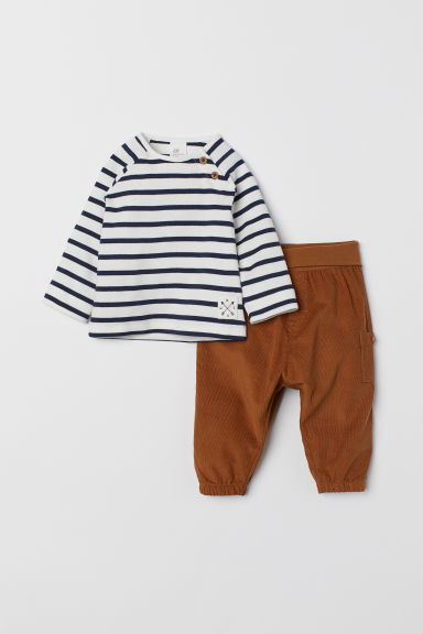 Cotton top and trousers - White/Blue striped - Kids | H&M