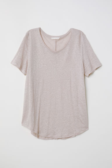 Round-necked linen top - Light mole - Ladies | H&M