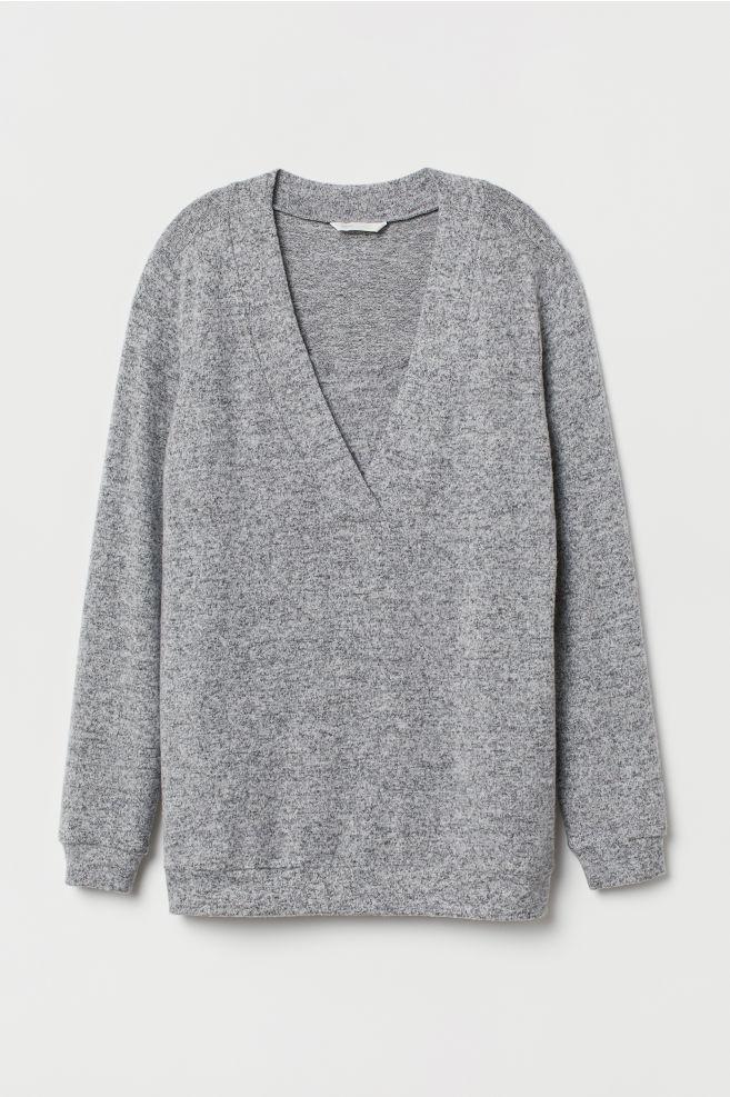 610d4df4c5 ... MAMA Fine-knit Nursing Sweater - Gray melange - Ladies
