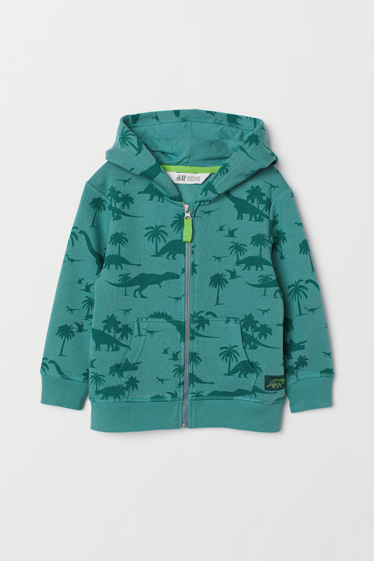 Patterned hooded jacket - Green/Dinosaurs - Kids | H&M CN