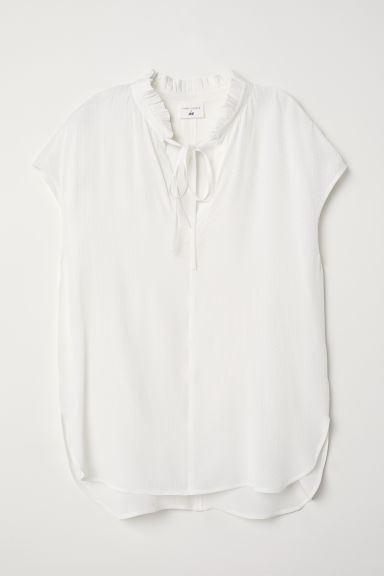 Blouse with a frilled collar - White -  | H&M
