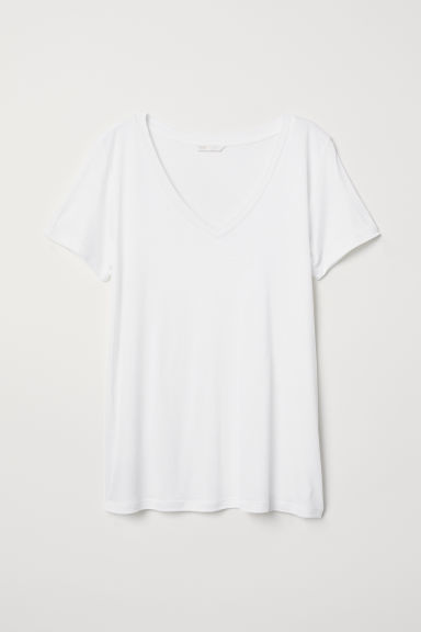 V-neck T-shirt - White - Ladies | H&M