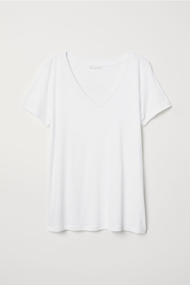 d952e81ad V-neck T-shirt - White - Ladies | H&M ...
