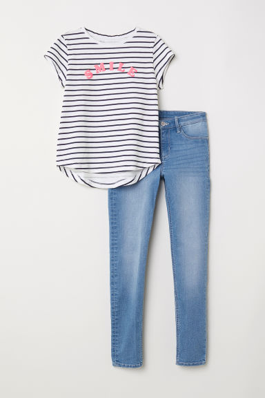 Top and Skinny Fit Jeans - Denim blue/Smile -  | H&M CN