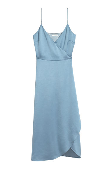 Satin wrap dress - Dusky blue - Ladies | H&M GB