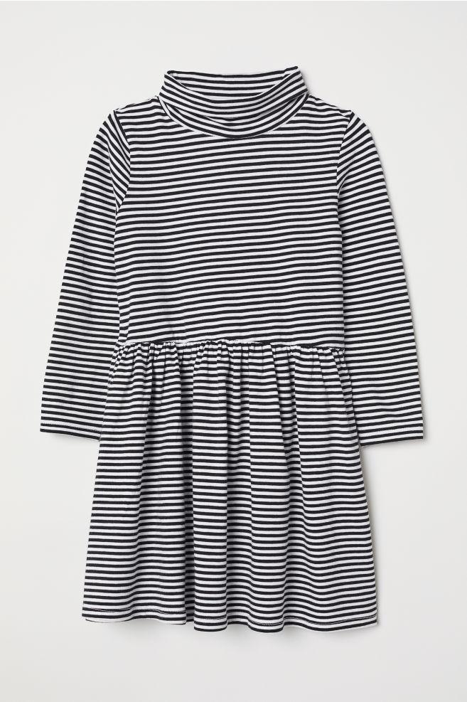 85b7cebe2c Jersey Turtleneck Dress - Black white striped - Kids