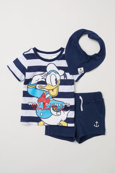 3-piece jersey set - Dark blue/Donald Duck -  | H&M