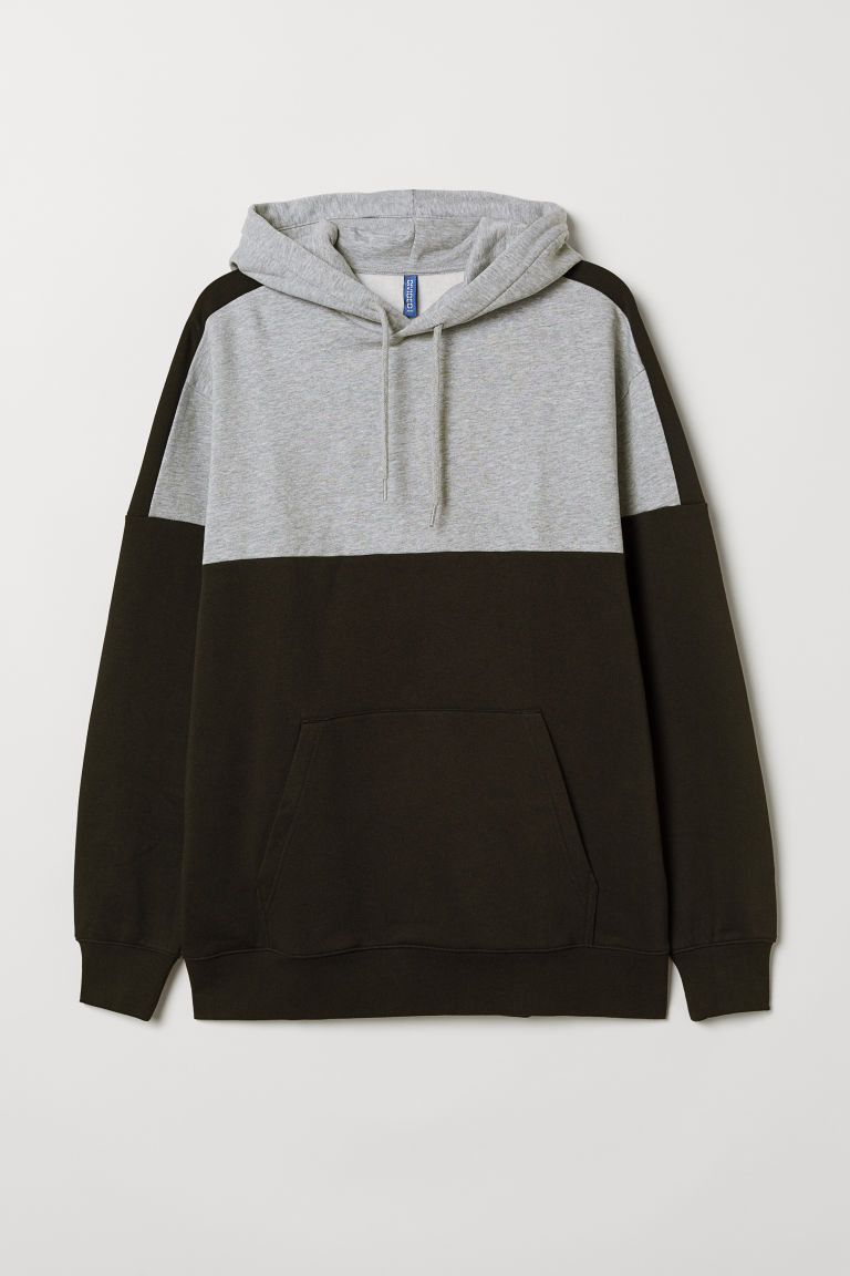 Sweat-shirt color block - Noir/gris chiné - HOMME | H&M BE