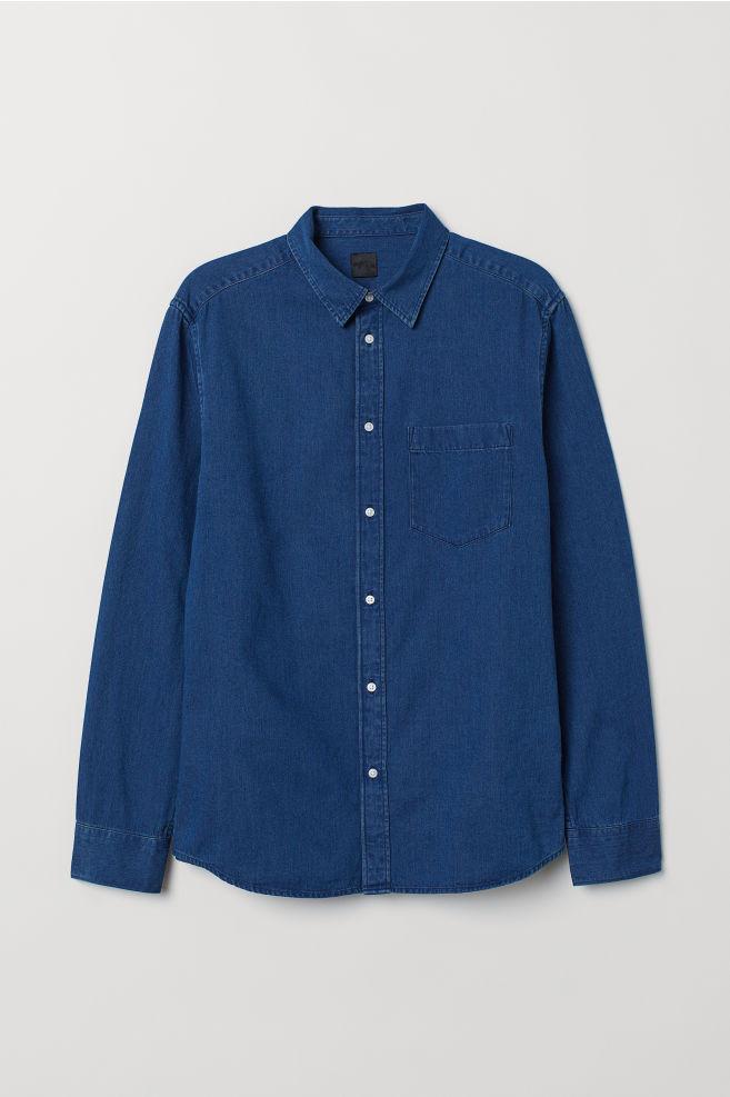 Overhemd Donkerblauw.Denim Overhemd Donkerblauw Heren H M Nl