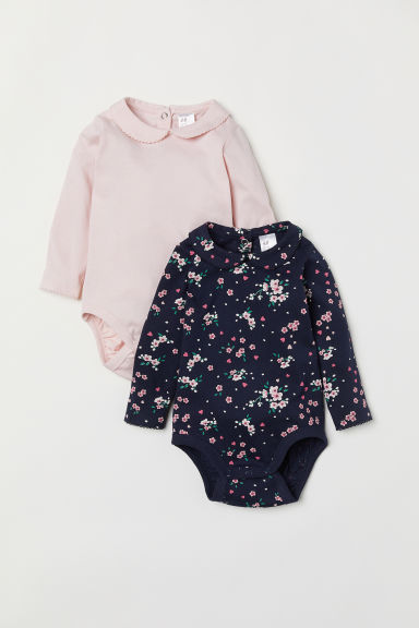 2-pack bodysuits with a collar - Dark blue/Floral - Kids | H&M