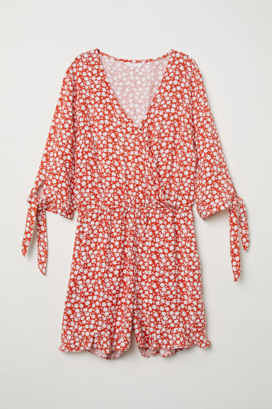 Wrapover playsuit - Red/White floral - Ladies | H&M CN