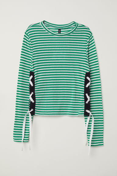 Jumper with lacing - Green/White striped - Ladies | H&M