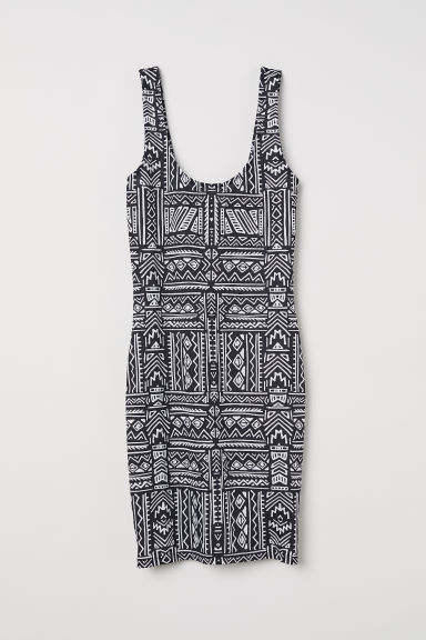 Sleeveless jersey dress - Black/White patterned -  | H&M CN