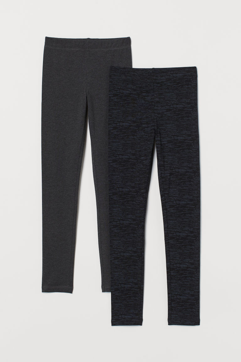 2-pack leggings - Black/Marled - Kids | H&M