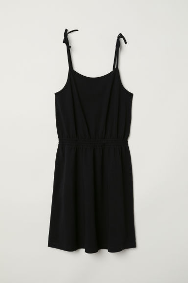 Sleeveless jersey dress - Black -  | H&M CN