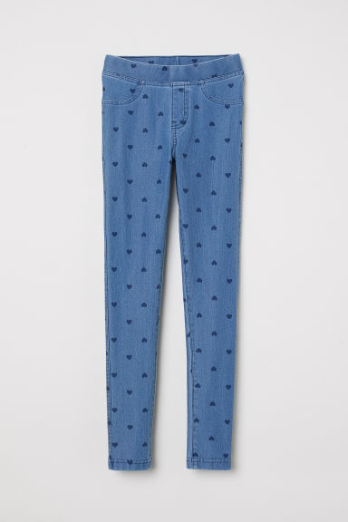 Treggings - Denim blue/Hearts - Kids | H&M CN