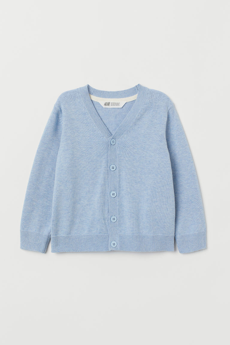 Fine-knit Cardigan - Light blue melange -  | H&M CA
