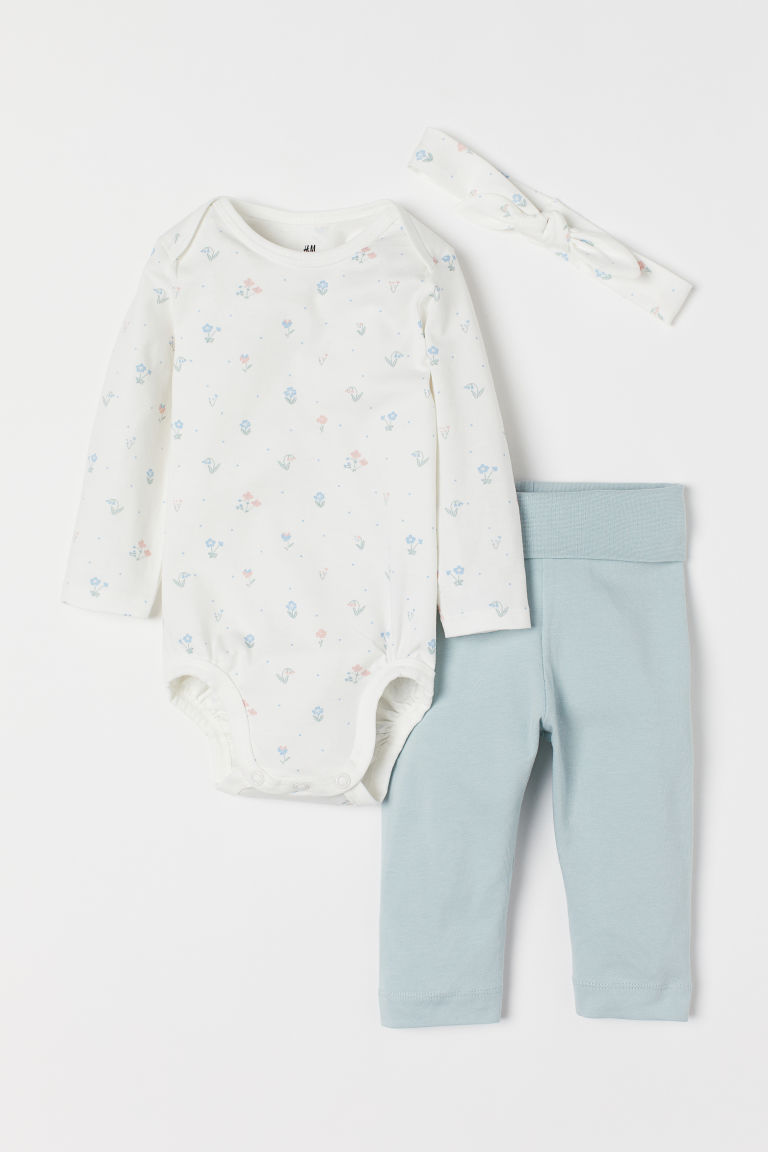 3-piece jersey set - White/Floral - Kids | H&M