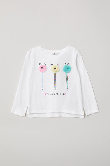 Appliquéd top - White/Pencils - Kids | H&M