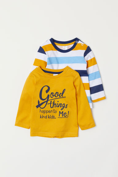 2-pack jersey tops - White/Striped - Kids | H&M