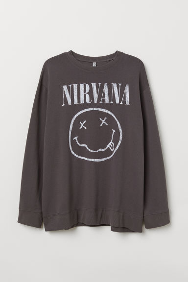 Oversized sweater - Donkergrijs/Nirvana -  | H&M BE