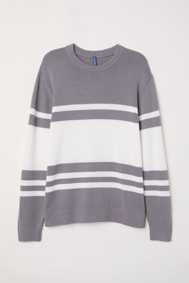 Jacquard-knit jumper - Grey/White striped -  | H&M CN