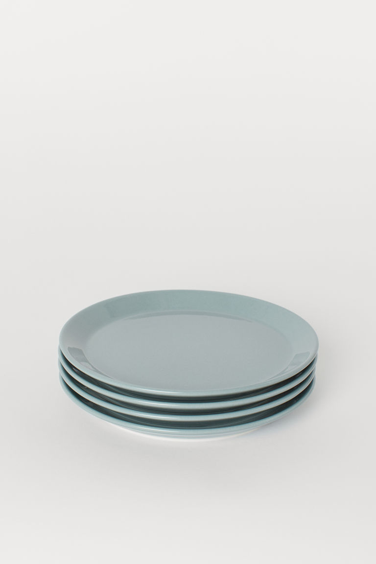 4-pack ceramic plates - Dusky green - Home All | H&M GB