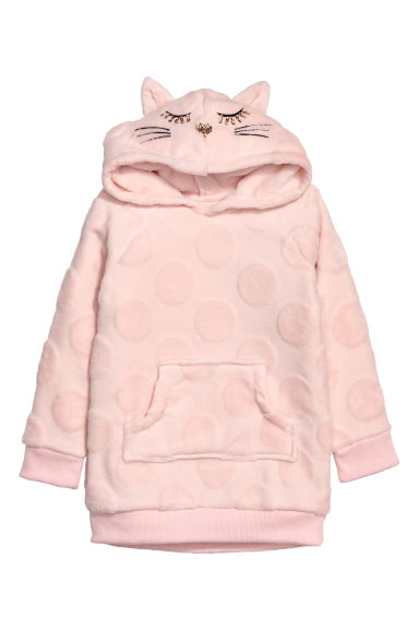 Hooded fleece top - Light pink/Cat -  | H&M CN